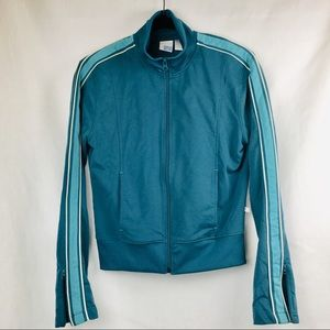 Counter Culture Teal Zip Jacket stripe Athletic M